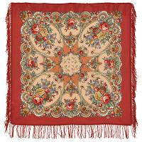 Нежные объятия 1641-3, павлопосадский платок шерстяной с шерстяной бахромой   Первый сорт