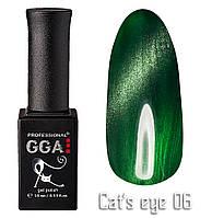 """Гель-лак """"Кошачий глаз"""", GGA,  10 мл, № 6"""