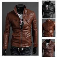 Чоловіча шкіряна куртка демісезонна, фото 1