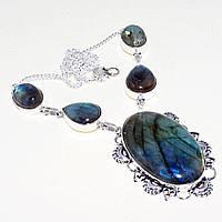Яркое ожерелье, колье с камнем лабрадор в серебре. Индия!, фото 1