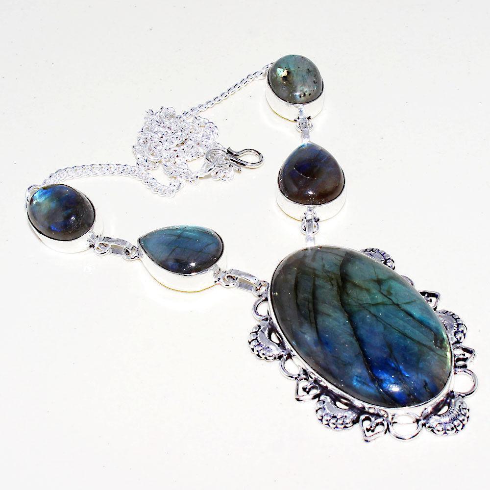Яркое ожерелье, колье с камнем лабрадор в серебре. Индия!