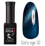 """Гель-лак """"Кошачий глаз"""", GGA,  10 мл, № 12"""