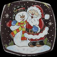 "Тарелка квадратная ""Дед мороз и снеговик"""