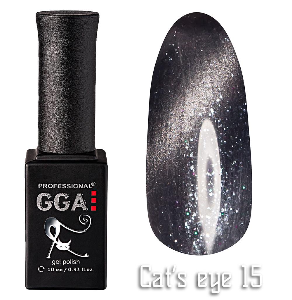 """Гель-лак """"Кошачий глаз"""", GGA,  10 мл, № 15"""