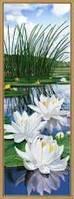 """Набор для вышивания """"Белые лилии"""" на канве с фоновым рисунком, 16*44см."""