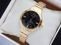 Женские кварцевые наручные часы Calvin Klein золотого цвета, черным циферблатом со стразами,на тонком браслете