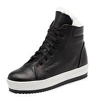 Женские зимние кожаные черные ботинки кроссовки с шнурками на термопластичной подошве, фото 1