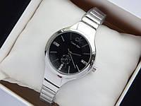 Женские кварцевые наручные часы Calvin Klein цвета серебро, черным циферблатом со стразами, на тонком браслете