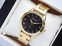 Женские кварцевые наручные часы Pandora золотого цвета, с блестками на черном циферблате, черный металлик, фото 1