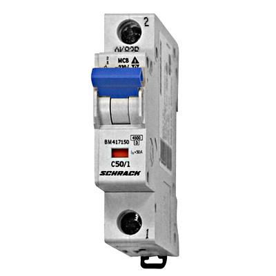 Автоматический выключатель BM 4.5кА 1P 50А х-ка C 30 ° С Schrack