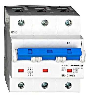 Автоматический выключатель повышенного тока BR 15-25кА 3P 100A х-ка C Schrack