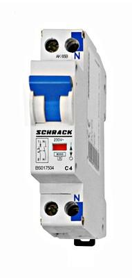 Автоматический выключатель со встроенной нейтралью BS 6кА 1P + N 4А х-ка C Schrack