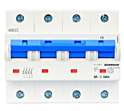 Автоматический выключатель повышенного тока BR 10кА 4P 80А х-ка C Schrack