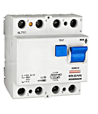 Устройство защитного отключения BC 6кА / 100мА 4P 63А тип AC Schrack