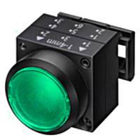 Нажимная кнопка с подсветкой, фиксацией, зеленая, Schrack