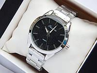 Женские кварцевые наручные часы Pandora серебристого цвета, с блестками на черном циферблате, черный металлик