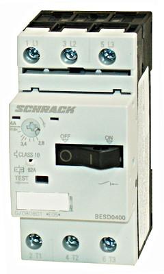 Выключатель электродвигателя BESD, 4 А, класс 10, 100 кА, 690В Schrack