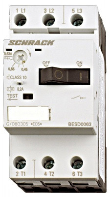 Выключатель электродвигателя BESD, 8 А, класс 10, 50 кА, 690В Schrack