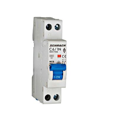 Автоматический выключатель со встроенной нейтралью 4.5кА 1P + N 6А х-ка C Schrack