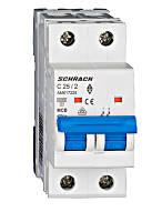 Автоматический выключатель 6кА 2P 25А х-ка C Schrack