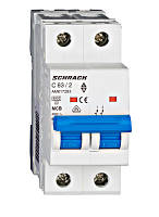 Автоматический выключатель 6кА 2P 63А х-ка C Schrack