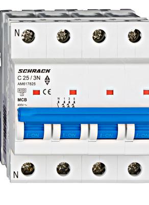 Автоматический выключатель 6кА 3P + N 25А х-ка C Schrack
