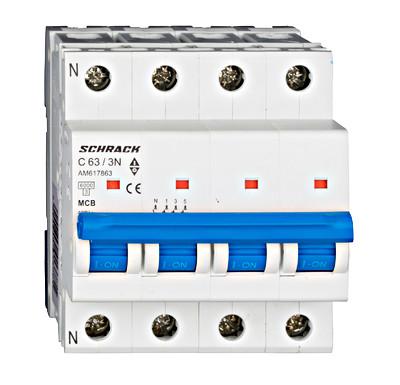 Автоматический выключатель 6кА 3P + N 63А х-ка C Schrack