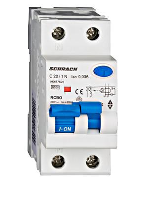 Дифференциальный автоматический выключатель 6кА / 30мА 1P + N 20A х-ка C Тип A Schrack