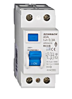 Устройство защитного отключения 10кА / 300мА 2P 40А тип AC Schrack