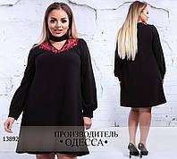 Платье 143 ангора+кружевная вставка R-13892 черный