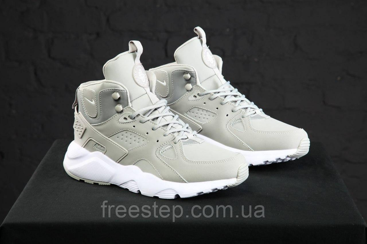 e5c67e76 Зимние кроссовки в стиле Nike Air Huarache нубук высокие серые - Интернет- магазин