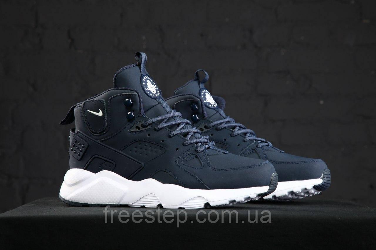0d180f30 Зимние кроссовки в стиле Nike Air Huarache нубук высокие темно-синие , фото  1
