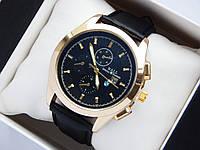 Мужские наручные часы Ball с логотипом BMW, золотистого цвета на черном кожаном ремешке, с датой