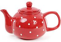 """Чайник заварочный """"Белый горошек"""" 1000мл, керамический, красный"""