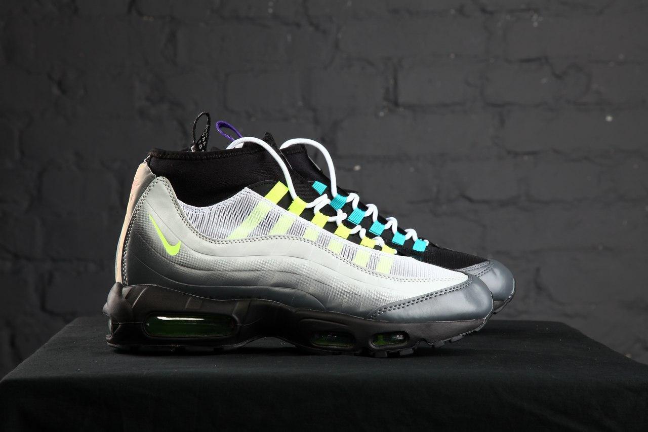 50d4f9e9 Зимние кроссовки в стиле NIKE Air Max 95 Sneakerboot разноцветные кожа нубук