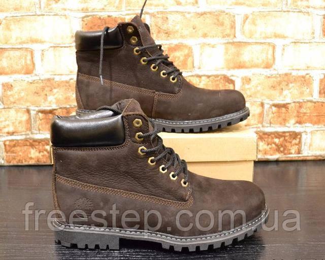 9e5e0e47f Мужские зимние ботинки в стиле Timberland коричневые нубук мех ...