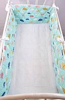 """Бортик-защита в кроватку """"Улитка"""" Облачка на бирюзе на всю кроватку для ребенка ТМ MagBaby Разноцветный 130552"""