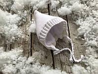 Зимняя вязаная шапочка белая на махре для ребенка 3-6 мес. ТМ MagBaby 102815