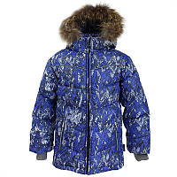 Зимняя куртка - пуховик для мальчика 5,7-9 лет р.110,122-134 MOODY 1 ТМ HUPPA синяя 17470155-73235