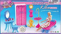 Мебель для куклы Gloria 2909  шкаф, трюмо, стульчик, софа, манекен в кор, 39*19*7, 5  см.
