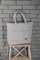 Стеганая сумка 2 в 1 (сумка - матрас для пеленания, сумка-пеленатор) ТМ MagBaby Серо-голубой 101251