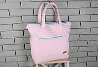 Стеганая сумка 2 в 1 (сумка - матрас для пеленания, сумка-пеленатор) ТМ MagBaby Розово-бирюзовый 101251