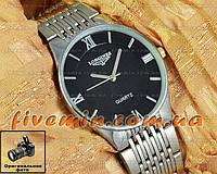 Наручные мужские часы Longines Quartz Steel Silver Black кварцевые японский механизм стальной браслет
