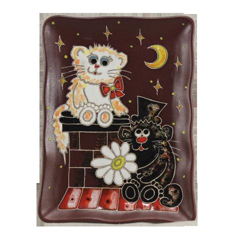 Тарелка прямоугольная «Коты на крыше «