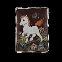 """Тарелка прямоугольная """"Лошадь белая """""""