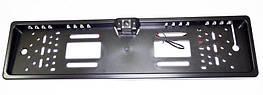 Камера заднего вида в рамке автомобильного номера с LED подсветкой Черная