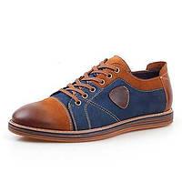 Коричневый / Серый Мужская обувь На каждый день Кожа Оксфорды 04304842