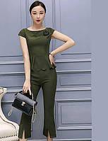 Для женщин Офис Вечеринка/коктейль Рубашка Брюки Костюмы Круглый вырез,Уличный стиль утонченный Однотонный 05807358