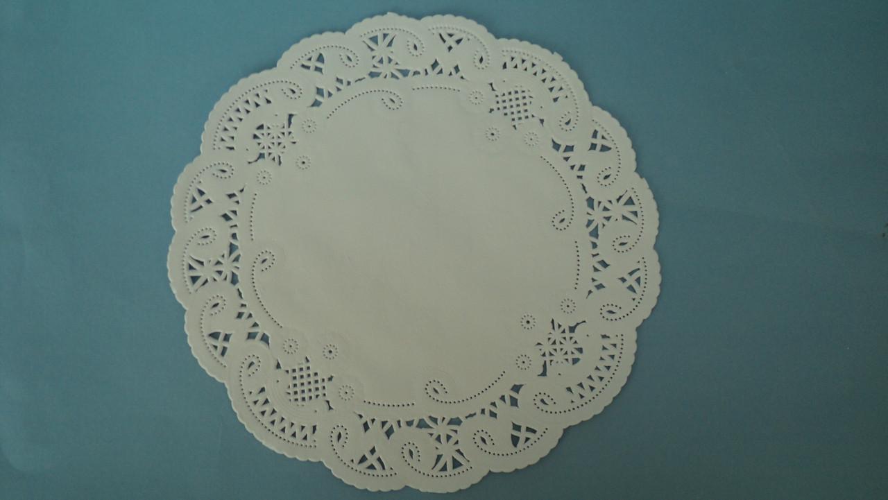 Салфетка ажурная круглая под торт 20,6см (код 01629)