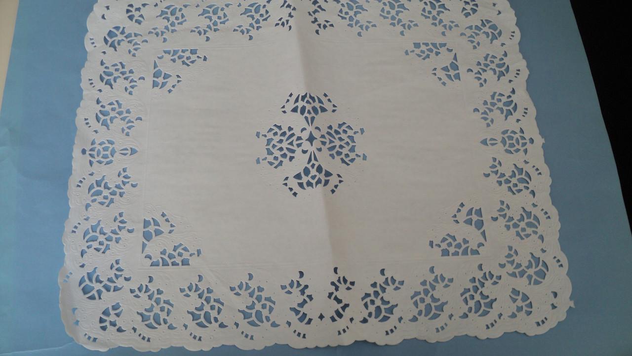 Ажурная салфетка белая,под торт прямоугольная 40*49см(02188)